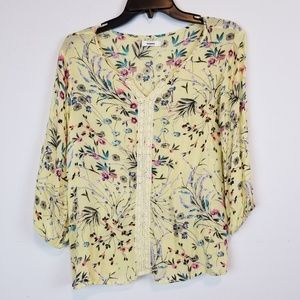 Bossini yellow floral 3/4 sleeve blouse top